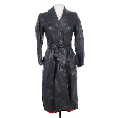 Leather Trench Coat with Tie Belt, 1970s Vintage