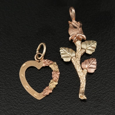 10K Tri-Color Gold Heart and Rose Pendants
