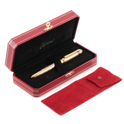 "Cartier ""Pasha de Cartier"" Gold Plate Rollerball Pen with Presentation Case"