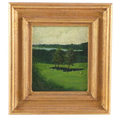 Impressionist Style Park Scene Oil Painting, Early 20th Century
