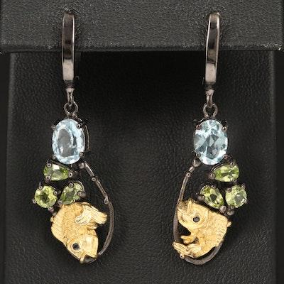 Sterling Silver Blue Topaz, Peridot, and Blue Sapphire Fish Motif Earrings