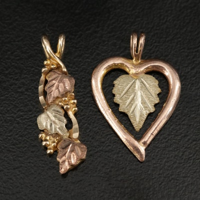 10K Tri-Color Leaf Pendant With 10K Two-Tone Heart Pendant