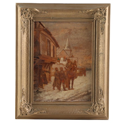 Oil Painting of Winter Village Scene, Late 19th Century