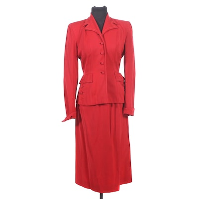 Victory Style Red Wool Blend Skirt Suit, 1940s Vintage
