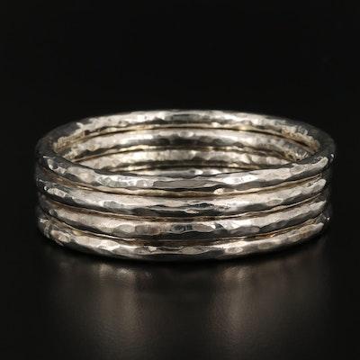 Hammered Texture Bangle Bracelet Set