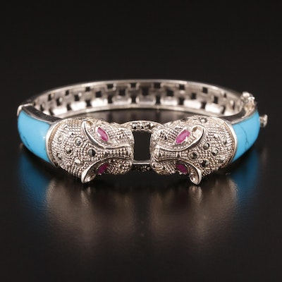 Sterling Silver Turquoise, Ruby and Marcasite Hinged Panther Bracelet