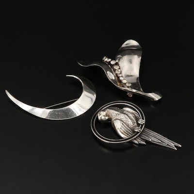 Retro and Vintage Sterling Silver and Rhinestone Brooches