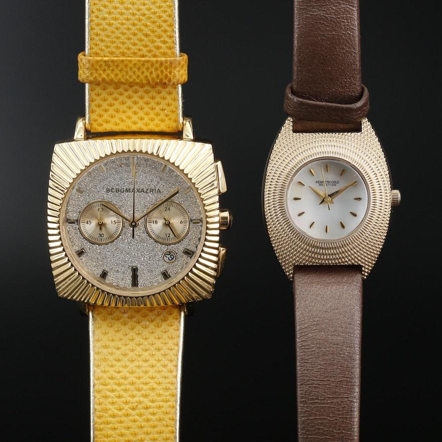 BCBG Maxazaria and Kenneth Cole Gold Tone Quartz Wristwatches