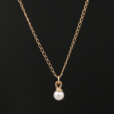 14K Pearl Pendant on Curb Link Chain