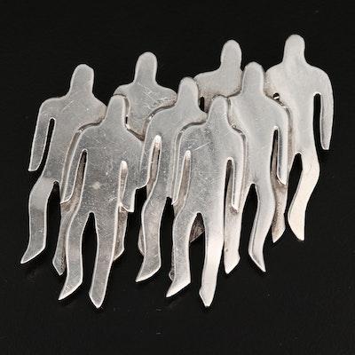 Sterling Silver Crowd Brooch