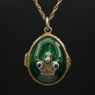 Sterling Silver Sapphire and Guilloché Enamel Fabrege Egg Locket on 14K Chain