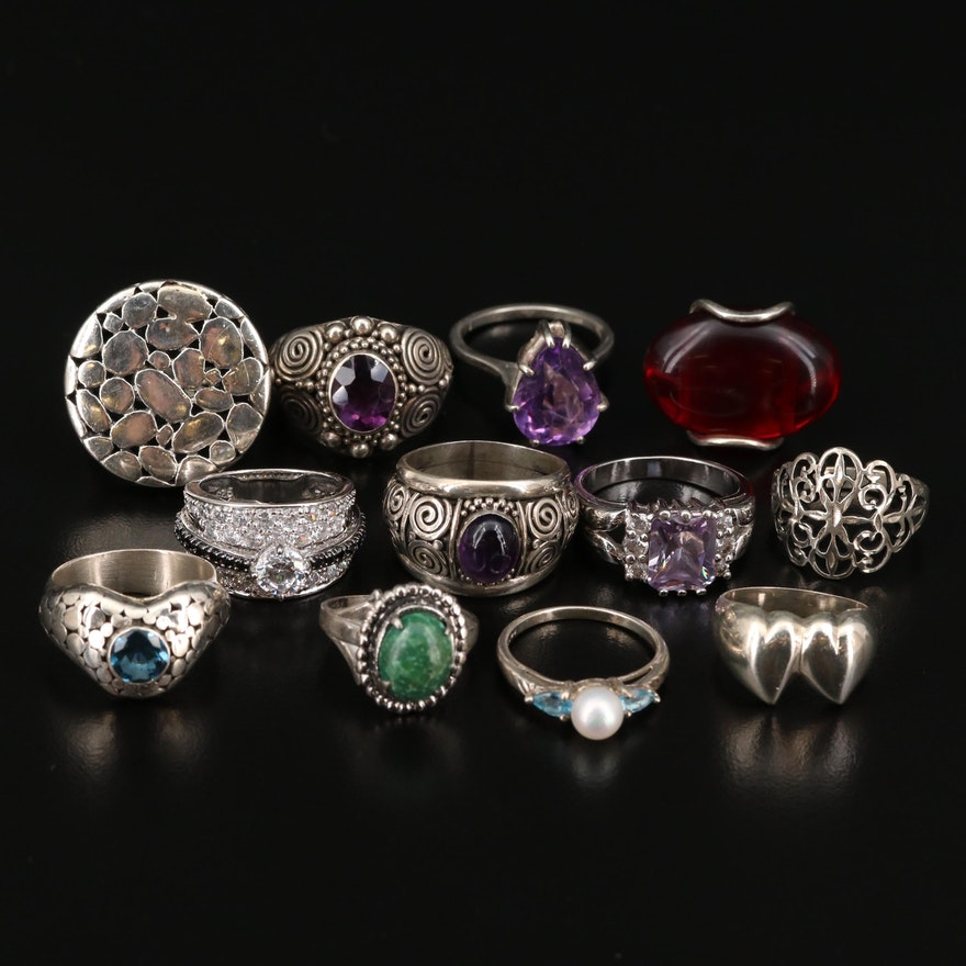 Collection of Sterling Silver Rings with Amethyst, Topaz and Cultured Pearl