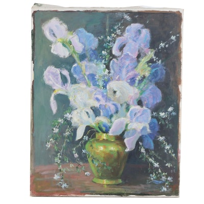 Floral Still Life Oil Painting, Mid-20th Century