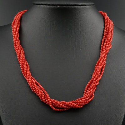 Idea Oro 18K Coral Torsade Necklace