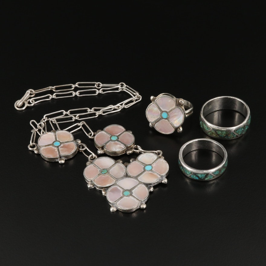Assorted Western Style Sterling, Mother Of Pearl and Turquoise Jewelry
