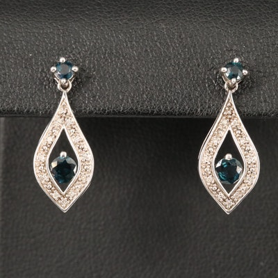 Sterling Silver Sapphire and Diamond Drop Earrings