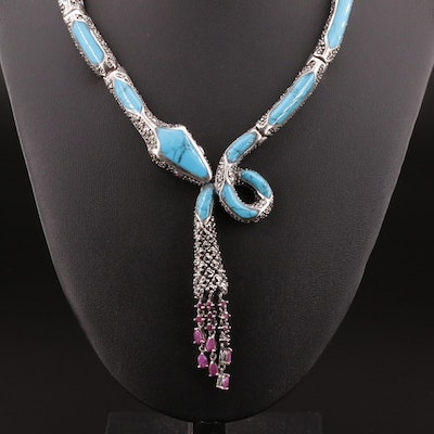 Sterling Silver Turquoise and Marcasite Serpent Necklace with Ruby Tassle