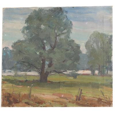 Pastoral Landscape Oil Panting, Mid 20th Century
