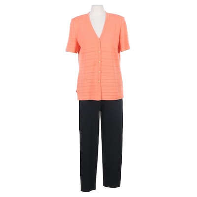St. John Collection Knit Short Sleeve Cardigan and Pant