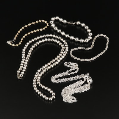 Sterling Silver Necklaces and Bracelets Including Bead and Rope Chains