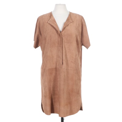 Per Se by Carlisle Camel Suede Shirt Dress