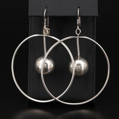 Mexican Sterling Silver Orb Drop Hoop Earrings
