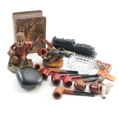 Smoking Pipes, Leather Cigar Box, Ashtrays, with Tom Clark and Train Figurines