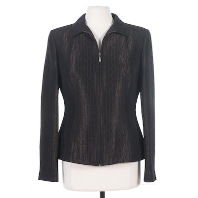 Burberry Wool Blend Zip-Front Jacket