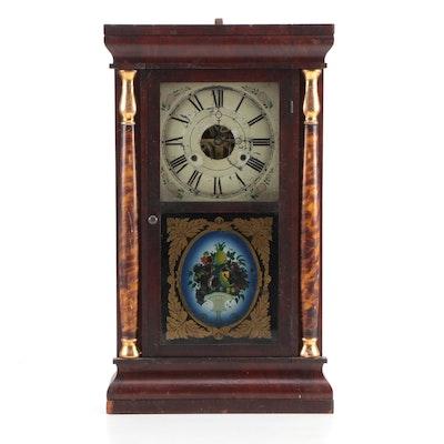 Seth Thomas Mahogany Brass Shelf Clock with Reverse Painting, Mid-Late 19th C.