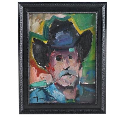"Jose Trujillo Oil Painting ""The Cowboy Hat"", 2019"