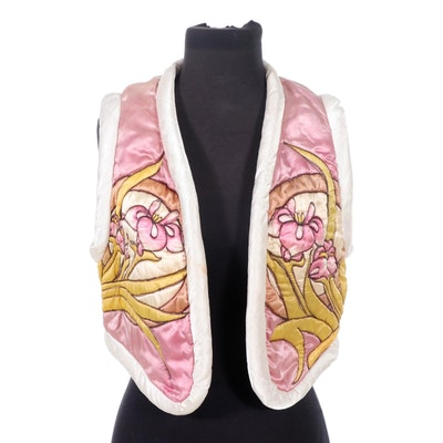 Guignon Silk Hand-Dyed Quilted Vest, 1980s Vintage