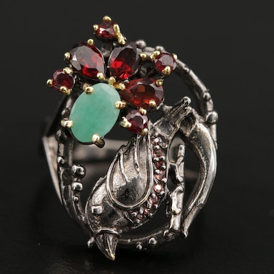 Sterling Silver Emerald and Garnet Bird Motif Ring
