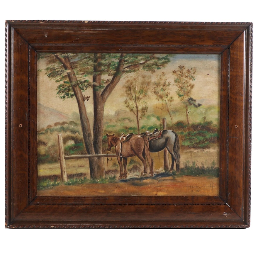 Landscape With Horses Oil Painting, 1954