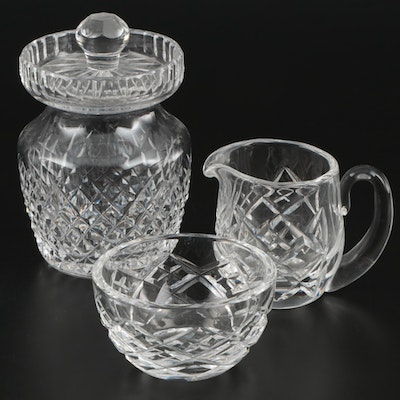 Waterford Crystal Lidded Preserve Jar, Sugar Bowl, and Creamer