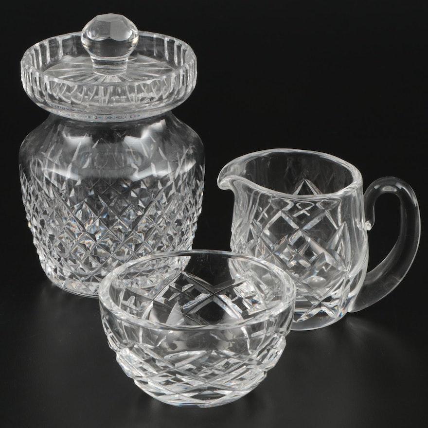 Waterford Crystal Lidded Preserve Jar, Sugar Bowl, and Creamer
