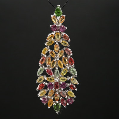 Sterling Silver Fancy Sapphire, Diopside and Garnet Pendant with Foliate Design