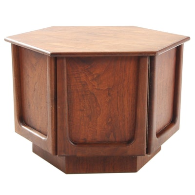 Mid Century Modern Walnut Hexagonal End Table