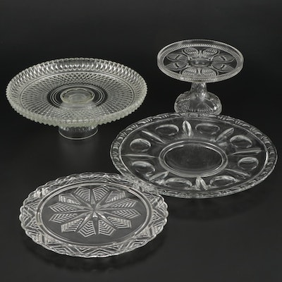 Pressed Glass Cake Stands and Serving Plate
