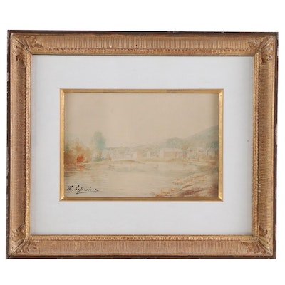 Lakeside Village Watercolor Painting, Early to Mid 20th Century