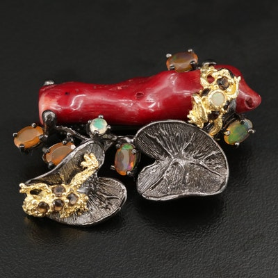 Sterling Silver Frog Pond Brooch Including Coral, Opal, and Smoky Quartz Accents