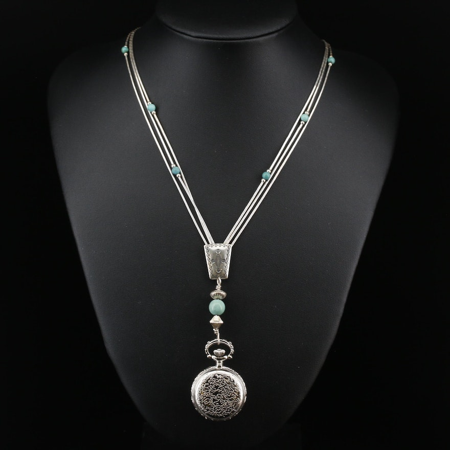 Carolyn Pollack Liquid Sterling Silver and Turquoise Watch Pendant Necklace