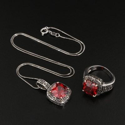 Sterling Silver Red Cubic Zirconia Necklace and Ring Set