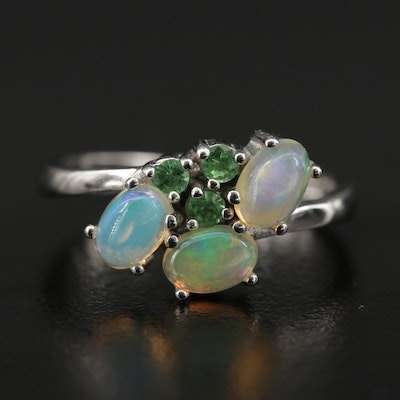 Sterling Silver Opal and Diopside Bypass Ring