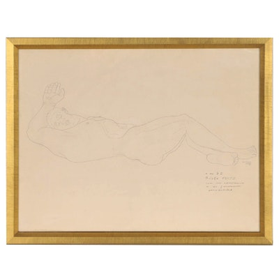 Manuel Rodríguez Lozano Ink Drawing of Reclining Male Nude, 1935
