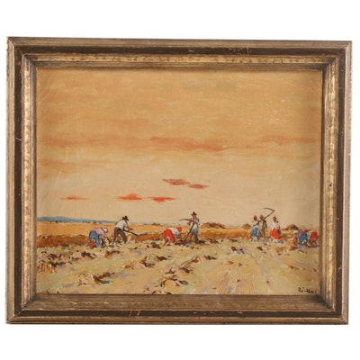 Oil Painting of Harvest Scene, Early to Mid 20th Century