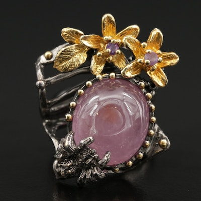 Sterling Silver Corundum and Amethyst Flora and Fauna Ring