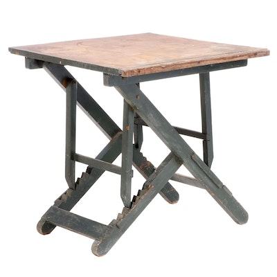 Industrial Green-Painted Folding and Adjustable Work Table with Fiberboard Top