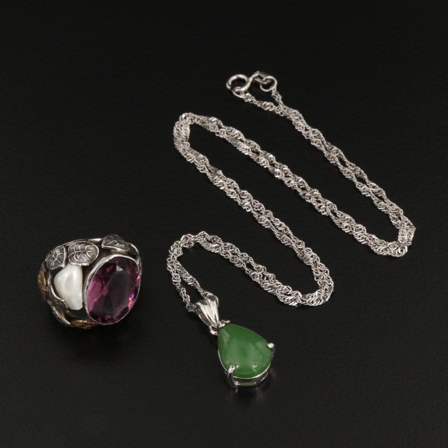 Sterling Silver Necklace and Ring with Cultured Pearl and Nephrite