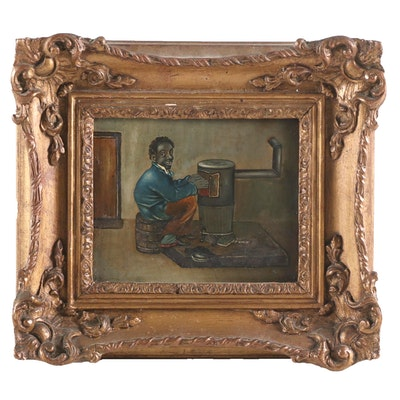Oil Painting of Man by a Stove, Early 20th Century