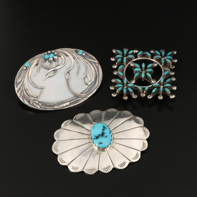 Sterling Silver Brooches with Turquoise and Mother of Pearl